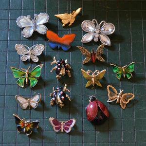 vintage enamel rhinestone butterfly bug beetle pin